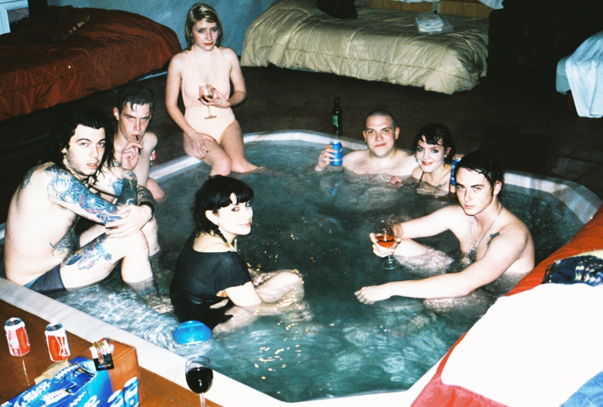 The first hot tub crew at the Sacred Bones Rented Ranch, Yucca Valley, CA. Photo by Ms. Hannah Silk Champagne. (Taylor Brode [Sacred Bones], Soren Roi, Loke Rahbek [VÅR, Posh Isolation], Margaret Chardiet [Pharmakon], Christopher Hansell, Myself and JS Aurelius [Marshstepper, Destruction Unit].