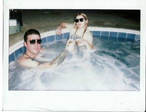 Kyle & Margaret, hot tub in Pittsburgh. Whiskey.