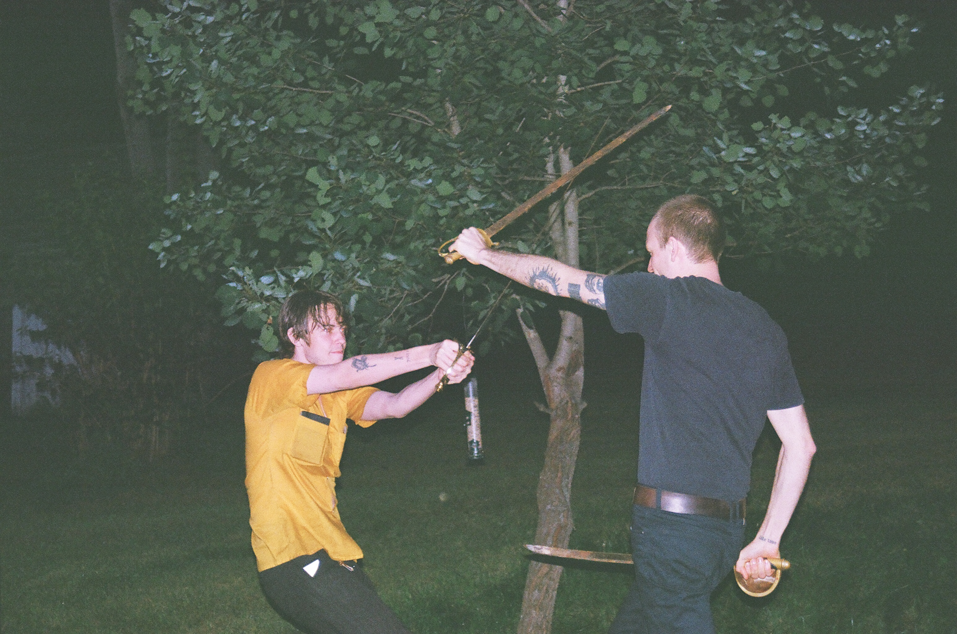 Elias Ronnenfelt and Dan Sword Fighting, upstate New York.